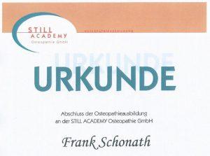 Urkunde Frank Schonath Still Academy Osteopathie